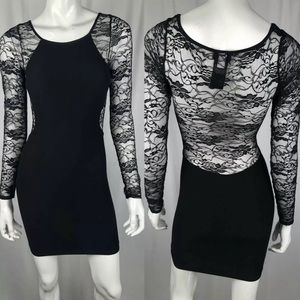 Bebe Lace Mini Bodycon Bandage Sheath Dress LBD